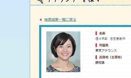 NHK・佐々木彩アナ、実は結婚していた!でも夫と別居?