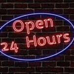 24時間、ネオン、看板のイメージ
